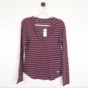Abercrombie & Fitch Striped V-Neck Shirt Stripe M